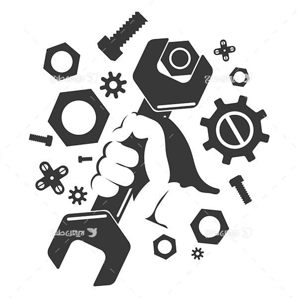 طرح وکتور صنعتی کار و دست و آچار و پیچ