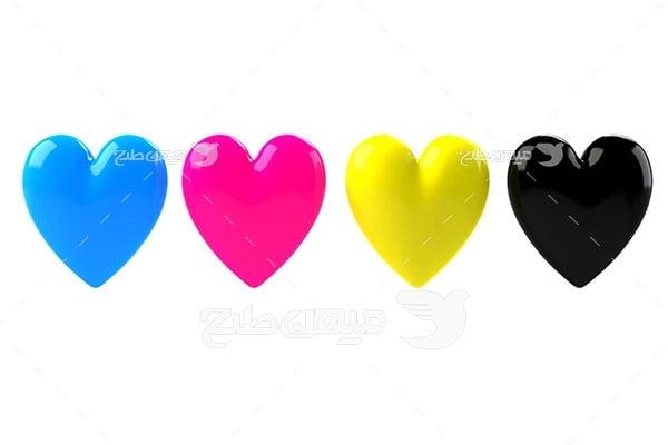 عکس نماد رنگ چاپ و تبلیغات CMYK به شکل قلب