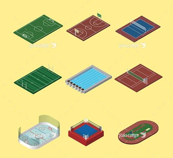 طرح گرافیکی وکتور سه بعدی زمین های ورزشی