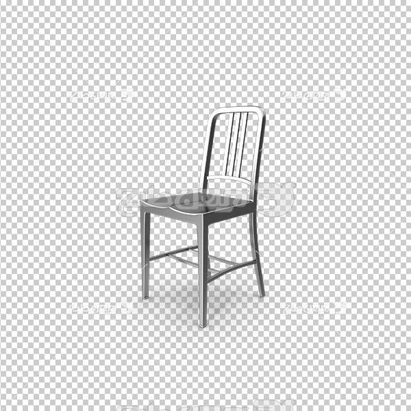 تصویر دوربری سه بعدی صندلی فلزی