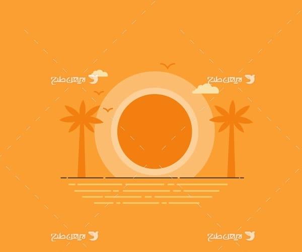 وکتور گرافیکی دریا ، خورشید و نخل
