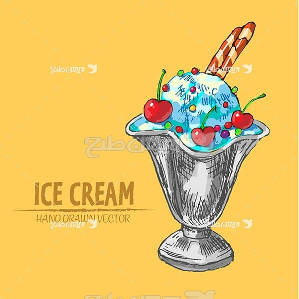 وکتور گرافیکی بستنی لیوانی
