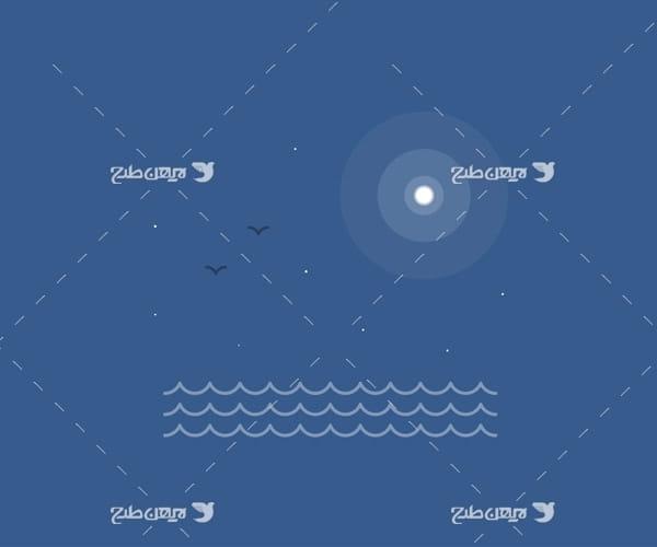 وکتور گرافیکی دریا،خورشید و پرنده