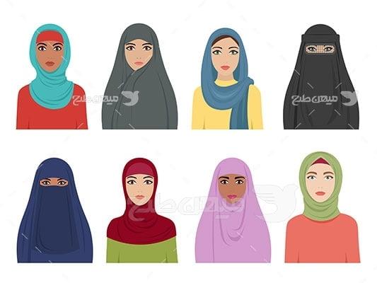 وکتور کاراکتر تنوع حجاب در تیپ های شخصیتی