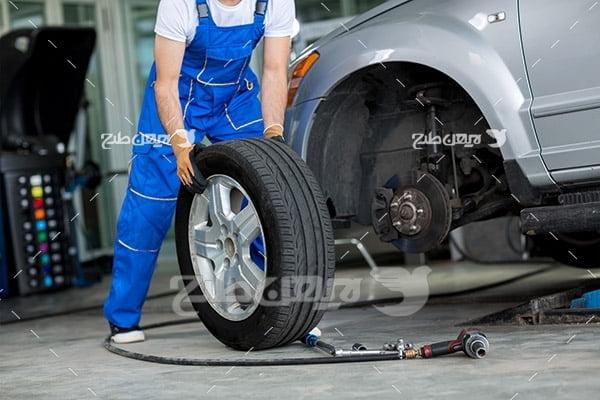 تعویض چرخ و لاستیک ماشین