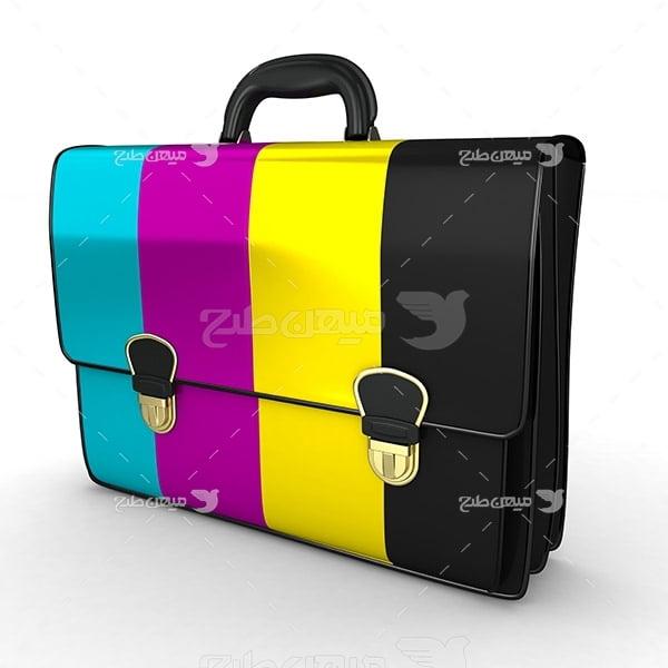 عکس نماد رنگ چاپ و تبلیغات CMYK به صورت کیف