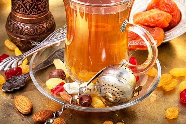 عکس چای و خشکبار