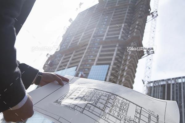 تصویر عکس نقشه و ساختمان و انسان