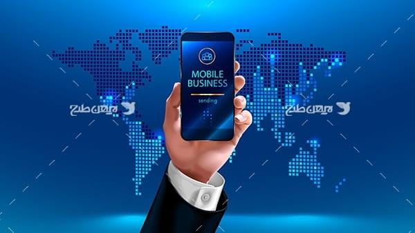 طرح وکتور گرافیکی با موضوع موبایل هوشمند