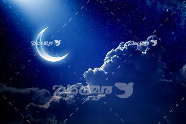 عکس آسمان شب با ماه و ابر