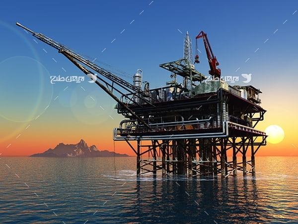 تصویر صنعتی از دکل نفت در دریا