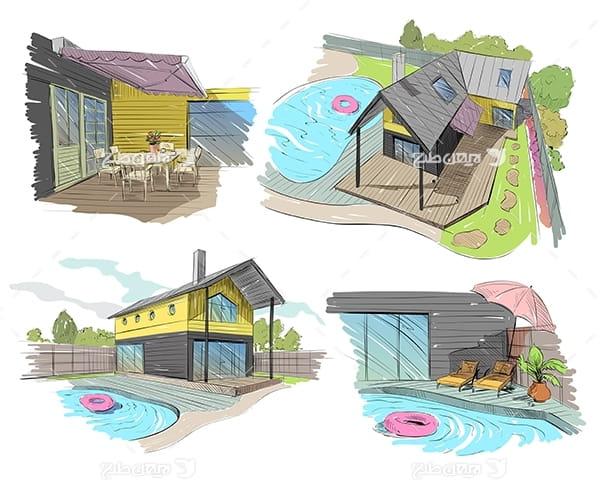 طرح گرافیکی وکتور اسکیج ساختمان و خانه