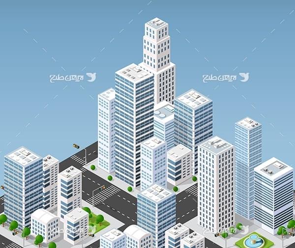 طرح گرافیکی وکتور سه بعدی شهر و ساختمان ، ماشین و چراغ قرمز و درخ