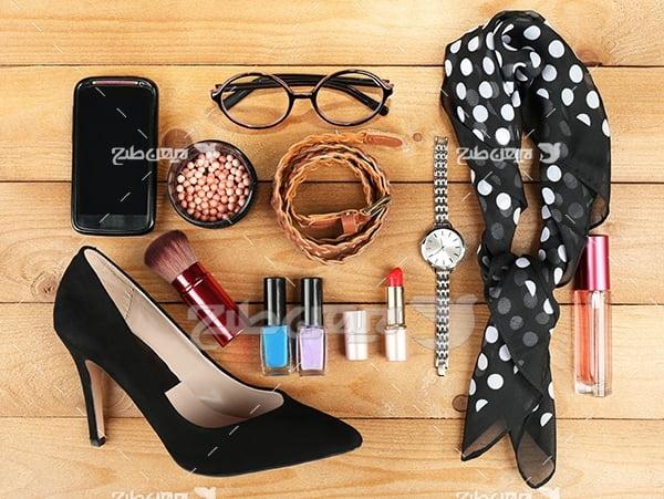 عکس لوازم آرایش و کفش و ساعت و عینک