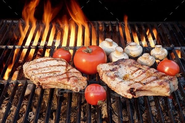عکس گوشت کبابی و قارچ