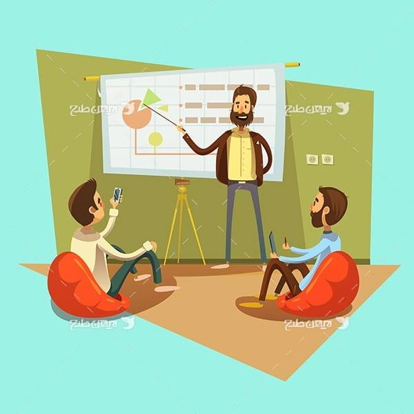 طرح وکتور گرافیکی کارکتر انسان با موضوع آموزش