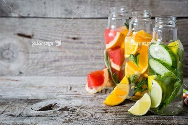 عکس میوه،پرتقال،لیمو،پرتقال قرمز و خیار سبز
