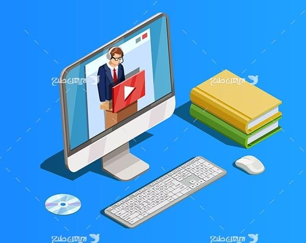 طرح وکتور سه بعدی رایانه و کامپیوتر