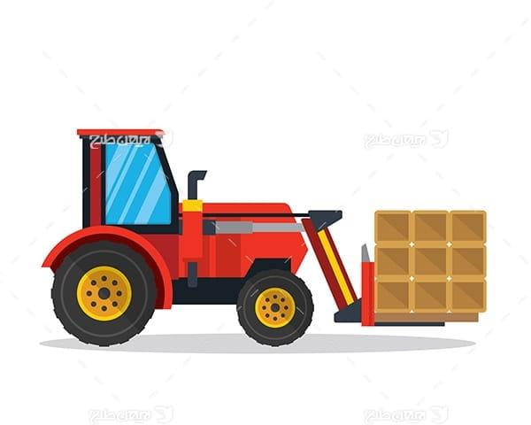 طرح گرافیکی وکتور ماشین صنعتی حمل و نقل