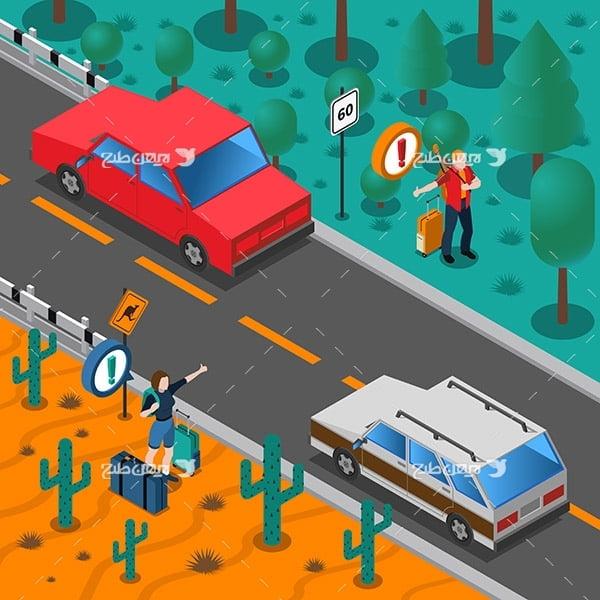 طرح وکتور گرافیکی با موضوع جاده و مسافر