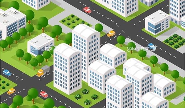 طرح گرافیکی وکتور سه بعدی ساختمان، شهر، درخت، خودرو