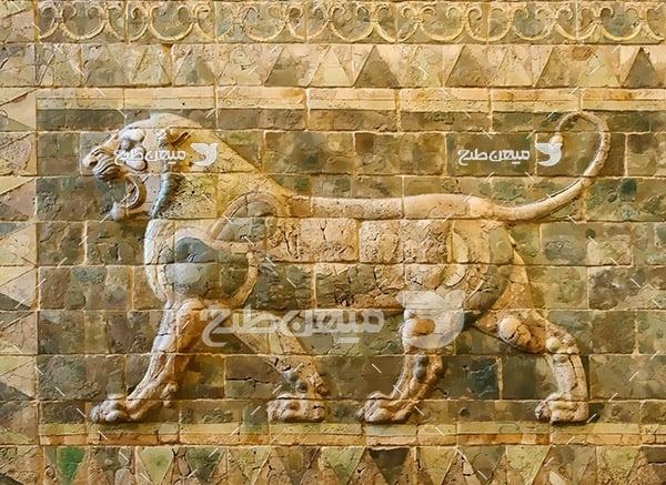 عکس سنگ نگاره شیر باستانی