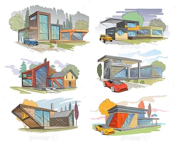 طرح گرافیکی وکتور - اسکیج نقاشی خانه و ساختمان