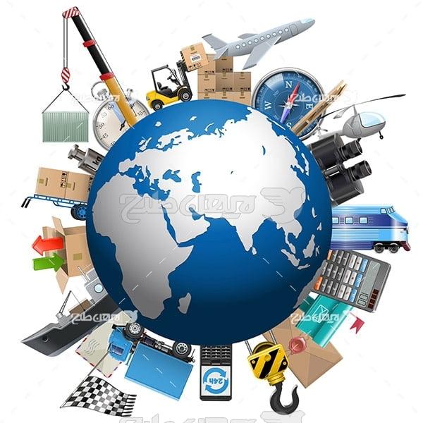 وکتور کره زمین و حمل و نقل کالا و باربری بین المللی