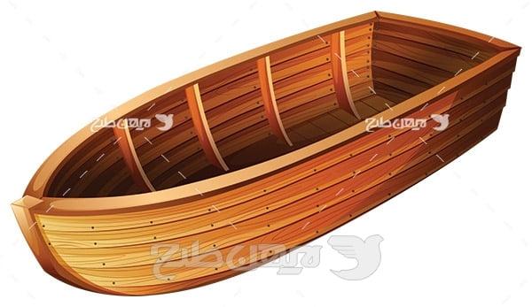 وکتور قایق چوبی