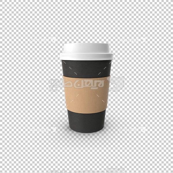 تصویر سه بعدی دوربری لیوان نوشیدنی دربسته