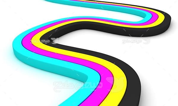 عکس نماد رنگ چاپ و تبلیغات به شکل موج