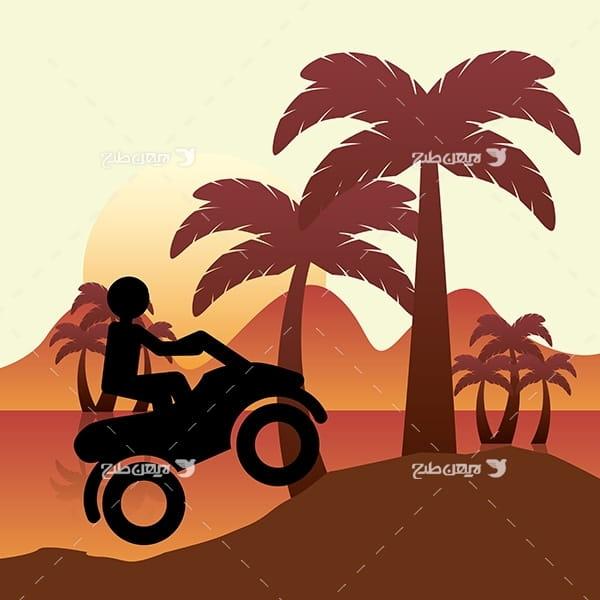 طرح وکتور گرافیکی با موضوع ورزش موتور سواری