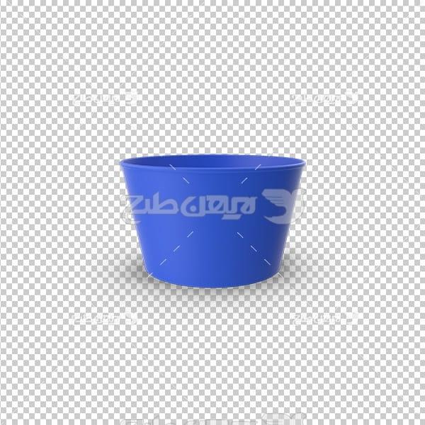 تصویر دوربری سه بعدی فنجان آبی