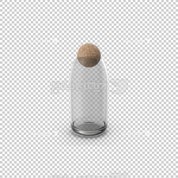 تصویر سه بعدی دوربری بطری در دار شیشه ای
