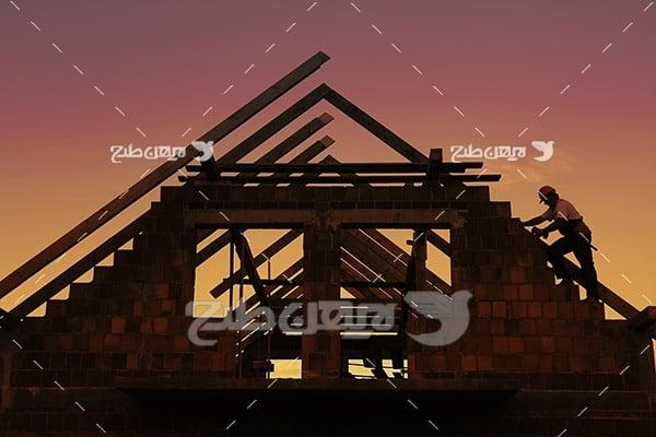 خانه چوبی در حال ساخت