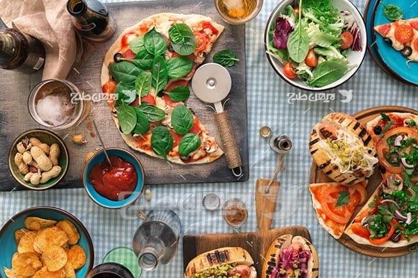 تصویر با کیفیت از پیتزا سبزی جات