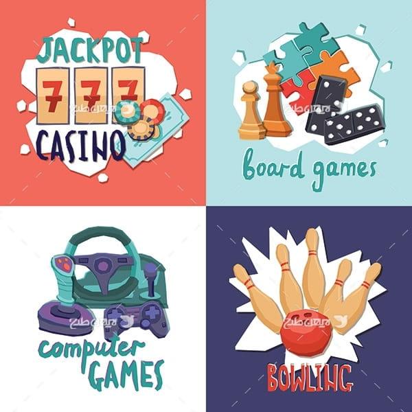 طرح وکتور گرافیکی سرگرمی و بازی