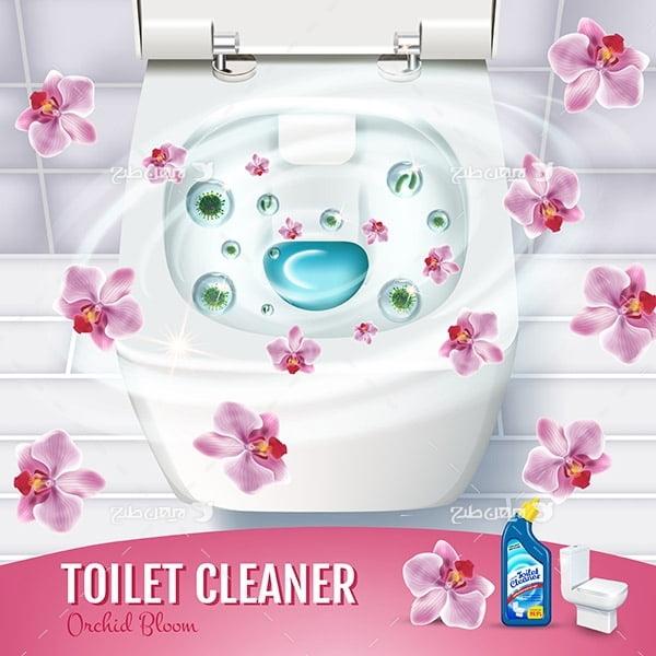 طرح وکتور تبلیغ مایع دستشویی و توالت با عصاره گل