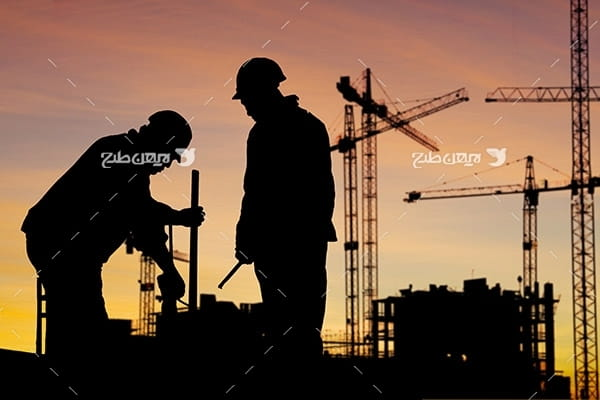 تصویر ضد نور از کارگران صنعتی