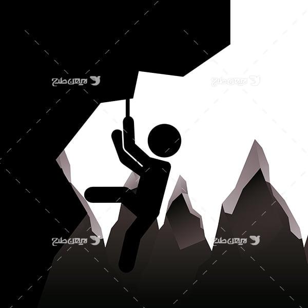 طرح وکتور گرافیکی با موضوع ورزش کوهنوردی
