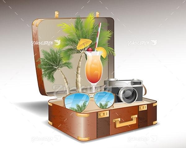وکتور مسافرت و گردشگری، چمدان،عینک،دوربین،ساحل،نخل و جزیره