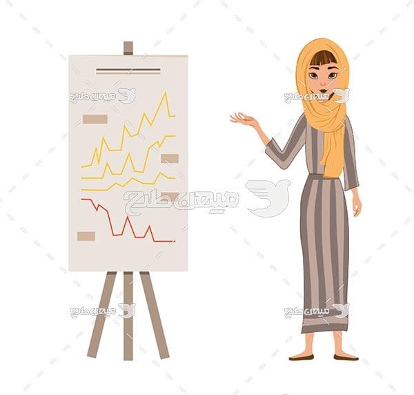 وکتور کاراکتر زن با حجاب