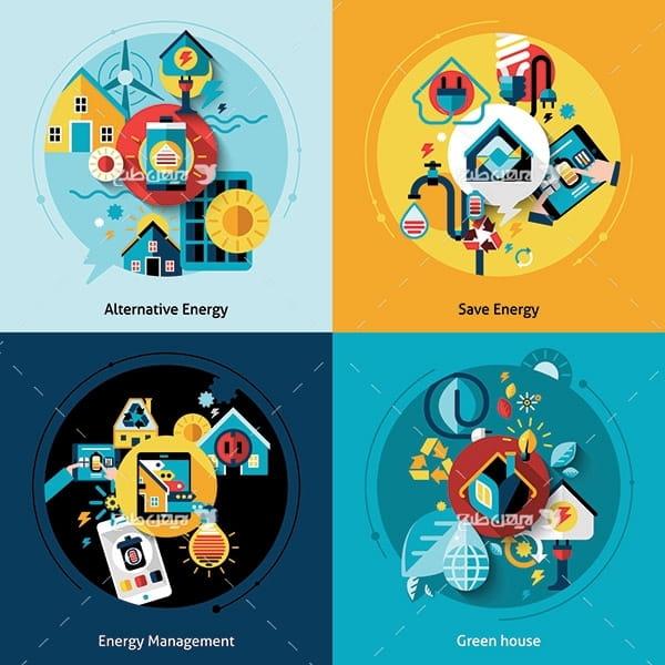 طرح وکتور گرافیکی صرفه جویی در مصرف انرژی و برق