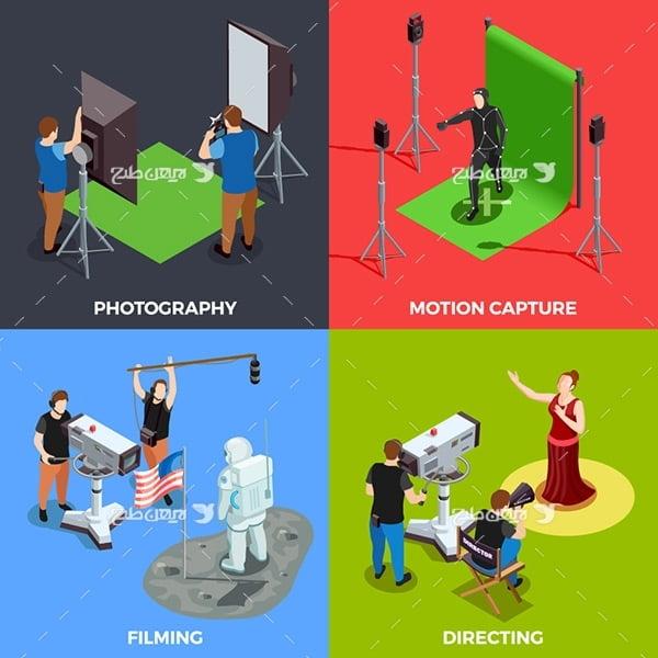 وکتور گرافیکی سه بعدی عکاسی، فیلمبرداری