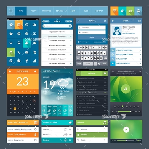طرح وکتور اپلیکیشن و نرم افزار موبایل