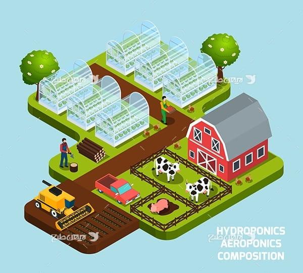 طرح وکتور سه بعدی باغ گلخانه و مزرعه و دامپروری