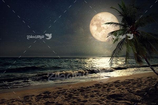 عکس ماه و ساحل