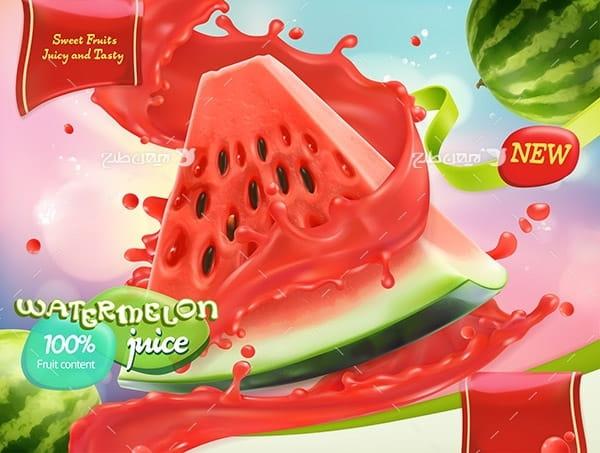 طرح وکتور گرافیکی با موضوع میوه هندوانه