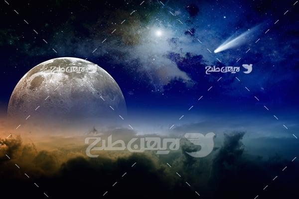 عکس ماه و حرکت ستاره ها