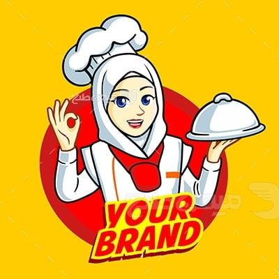 وکتور کاراکتر حجاب آشپز رستوران